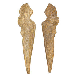 Small Wood Wing Pair - These pretty rustic wings have a gorgeous, antique gold finish and are perfect to glam up any wall space.