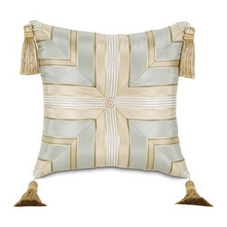 "Frontgate - Evora Tufted Pillow with Tassels - Soft, neutral shades of taupe, ice blue, and ivory. Evora Tufted Pillow with Tassels (77112): 16"" sq.. Dry clean only recommended. Because this bedding is specially made to order, please allow 4-6 weeks for delivery.. Our classic Evora collection brings stylish beauty to your bedroom. Draped in luxury, this fresh collection from Eastern Accents features a lush striped duvet cover of silk sateen and accessories with features like mitered corners, tassels, and embroidery.  . .  . . Made in USA of imported goods. Part of the Evora collection."