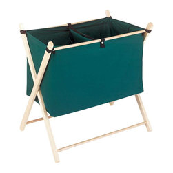 "Renovators Supply - Laundry Bags Forest Green Cotton-Poly Laundry Bag Sorter - This two-part laundry hamper has a removable divider. It is forest green with a natural finish hardwood stand. 29 1/2"" high x 28 3/8"" wide."