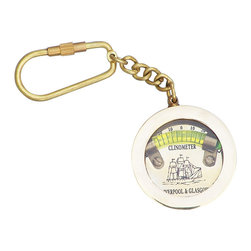 "Handcrafted Model Ships - Brass Clinometer Level Key Chain 5"" - Nautical Key Ring - This nautical-themed key chain is both adorable and functional, featuring a clinometer key fob. Crafted from solid brass, this key chain is as beautiful as it is durable and functional. A knurled knob allows you to easily and securely add or remove keys from the ring. These wonderful key chains make ideal gifts for friends, family, employees, clients, co-workers, and especially yourself."
