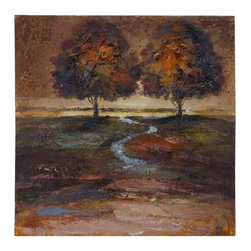 Benzara - Canvas Painting with a Meandering Stream - Canvas Painting with a Meandering Stream.