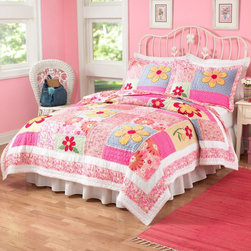 Pem America - Pem America Olivia Pink Quilt Set - QS1327TW-2300 - Shop for Quilts from Hayneedle.com! Your little princess will sleep in cozy comfort with the Pem America Olivia Pink Quilt Set. This quilt set's beautiful color palette of pink yellow and blue will coordinate with almost any girl's bedroom decor. The floral pattern also appeals to a wide age range so you can re-decorate the room around it as your child matures. This durable hand-crafted quilt set is made from 100% cotton fabric with 100% cotton fiber fill and has embroidery and ribbon applique for different textures. It's pre-washed for a natural worn look and super-soft feel and is machine washable for easy care.Quilt Set Components:Twin: Quilt 1 pillow shamFull/Queen:Quilt 2 pillow shamsDimensions:Twin Quilt: 86L x 68W inchesFull/Queen Quilt: 86L x 86W inchesPillow Shams: 26L x 20W inchesAbout Pem AmericaMakers of high quality handcrafted textiles Pem America Outlet specializes in bedding that enhances your comfort and emphasizes the importance of a good night's rest. Quilts comforters pillows and other items for the bedroom are made with care and craftsmanship by Pem America. Their products cover a wide range of materials styles colors and designs all made with long-lasting quality construction and soft long-wearing materials. Details like fine stitching embroidery and crochet decorations and reinforced seaming make Pem America bedding comfortable and just right for you and your family.