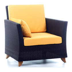 All Things Cedar - Rattan ARM CHAIR with yellow cushion - Includes 2pc. Yellow Cushion with matching throw pillow. Item is made to order.