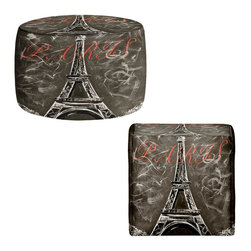 DiaNoche Designs - Ottoman Foot Stool by Teshia - Vintage L'amour a Paris Sepia - Lightweight, artistic, bean bag style Ottomans.  Coming in 2 squares sizes and 1 round, you now have a unique place put rest your legs or tush after a long day!. Artist print on all sides. Dye Sublimation printing adheres the ink to the material for long life and durability. Printed top, khaki colored bottom, Machine Washable, Product may vary slightly from image.