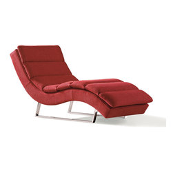 Zuri Furniture - Sphinx Woven Fabric Chaise - Red - Drift away in the sleek and serene Sphinx contemporary chaise lounge. The oversize design with sturdy chrome base and plush, yet durable woven fabric upholstery delivers the ultimate in-home retreat from everyday stress.
