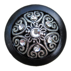 DaRosa Creations - Black Wooden Drawer Knob with Metal Insert and Crystals - Black Wooden Drawer Knob with Metal Insert and Crystals (WK10 A)