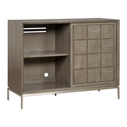 Vanguard - Stockwell Chest - This bold chest has a geometric domino feel with adjustable shelves and sliding doors. Plenty of space to fill with media, equipment, linens or platters, this contemporary chest can hold all your secrets.