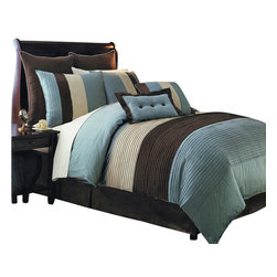"""Bed Linens - Blue Hudson Luxury 12-Piece Bedding Set Queen Size - Blue Hudson Luxury 12-Piece Bedding SetThe Blue Hudson 12-piece comforter set offers a modern, tailored look that creates an aura of calmness in any bedroom.* nature-inspired colors in shades of Blue, Brown and Off White* bold color blocking for strong design impact* all the pieces you need for a flawlessly decorated bed* 100% Polyester Machine WashableFull 12-Piece Set: 1- Full size comforter 86""""x86"""" 1- Full Bed Skirt 54"""" x 75"""" with 15"""" Drop 2- Standard Pillow Shams 20 x 26"""" each. 2- Euro Pillow Shams 26"""" x 26"""" each. 1- Decorative Pillow 12"""" x 18"""" 1- Decorative Pillow 18"""" x 18"""" 1- Full Flat sheet 80 x 94 inches (white). 1- Full Fitted Sheet 54 x 75 inches Made with elastic all around & 15"""" deep Pockets (White). 2- Standard Pillow cases 20 x 30 Inches (White).Queen 12-Piece Set: 1- Queen size comforter 90""""x92"""" 1- Queen Bed Skirt 60"""" x 80"""" with 15"""" Drop 2- Standard Pillow Shams 20 x 26"""" each. 2- Euro Pillow Shams 26"""" x 26"""" each. 1- Decorative Pillow 12"""" x 18"""" 1- Decorative Pillow 18"""" x 18"""" 1- Queen Flat sheet 90 x 102 inches (white). 1- Queen Fitted Sheet 60 x 80 inches Made with elastic all around & 15"""" deep Pockets (White). 2- Standard Pillow cases 20 x 40 Inches (White).King 12-Piece Set: 1- King size comforter 106"""" x 92"""" 1- King Bed Skirt 78"""" x 80"""" with 15"""" Drop 2- King Pillow Shams 20 x 36"""" each. 2- Euro Pillow Shams 26"""" x 26"""" each. 1- Decorative Pillow 12"""" x 18"""" 1- Decorative Pillow 18"""" x 18"""" 1- King Flat sheet 108 x 102 inches (white). 1- King Fitted Sheet 78 x 80 inches Made with elastic all around & 15"""" deep Pockets (White). 2- King Pillow cases 20 x 40 Inches (White).California King 12-Piece Set: 1- Cal-King size comforter 106"""" x 92"""" 1- Cal-King Bed Skirt 72"""" x 84"""" with 15"""" Drop 2- King Pillow Shams 20 x 36"""" each. 2- Euro Pillow Shams 26"""" x 26"""" each. 1- Decorative Pillow 12"""" x 18"""" 1- Decorative Pillow 18"""" x 18"""" 1- Calking Flat sheet 108 x 102 inches (white). 1- Calking Fitted Sheet 72 x 84 in"""