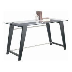 """Sunpan Modern - Sonoma Desk - Features: -Top material: 8mm tempered glass.-Frame material: Solid elm wood.-Perfect mix of style and value.-Finish: Espresso.-Top Finish: Clear glass.-Base Finish: Espresso with chrome bar.-Powder Coated Finish: No.-Gloss Finish: No.-UV Finish: No.-Base Material: Wood.-Number of Items Included: 1.-Non-Toxic: Yes.-Water Resistant: No.-Stain Resistant: No.-Heat Resistant: No.-Style: Contemporary.-Design: Standard Desk.-Distressed: No.-Eco-Friendly: No.-Cable Management: No.-Keyboard Tray: No.-Height Adjustable: No.-Drawers Included: No.-Jewelry Tray: No.-Exterior Shelving: No.-Cabinets Included: No.-Handedness: Both.-Scratch Resistant: No.-Chair Included: No.-Legs Included: Yes -Leg Glides: No..-Casters Included: No.-Hutch Included: No.-Treadmill Included: No.-Cork Back Panel: No.-Modesty Panel: No.-CPU Storage: No.-Built In Outlet: No.-Built In Surge Protector: No.-Light Included: No.-Modular: No.-Lifestage: Teen; Adult.-Commercial Use: Yes.-Product Care: Wipe clean.-Solid Wood Construction: Yes.-Wood Tone: Dark Wood.-Swatch Available: No.-Recycled Content: No.Specifications: -FSC Certified: No.-EPP Certified: No.-CARB Compliant: Yes.Dimensions: -Overall Height - Top to Bottom: 29.5"""".-Overall Width - Side to Side: 55"""".-Overall Depth - Front to Back: 25.5"""".-Desk Return: No.-Credenza: No.-Bridge: No.-Cabinet: No.-Drawer: No.-Shelving: No.-Seat: No.-Desktop Height: 29.5"""".-Desktop Width - Side to Side: 55"""".-Desktop Depth - Front to Back: 25.5"""".-Hutch: No.-Legs: -Leg Height: 28.5""""..-Overall Product Weight: 92 lbs.Assembly: -Additional Parts Required: No.Warranty: -Please note that this item carries the manufacturer's standard one year warranty from the date of purchase. ."""