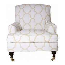 Marrakesh Slipper Chair by Windsor Smith Home - This elegant slipper chair can roll to wherever you need it on casters. Available in a range of fabrics, I can't imagine wanting it in anything more than I want it in this sophisticated quatrefoil print.