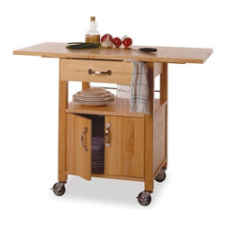 """Winsome - Basics Kitchen Cart - Add extra preparation and storage space to your kitchen with the Basics Kitchen Cart from Winsome. With two locking casters for stability and the two drop leafs extended -increasing the counter space by 2 square feet- this kitchen cart is perfect for preparing meals. In addition to the extra counter space there is a shelf and storage cabinet for storing glassware, dishes, cooking utensils and more! Features: -Utility drawer.-Lower shelf and storage cabinet.-4 Casters (2 locking).-Solid beechwood and plywood construction.-Natural finish.-Basics collection.-Product Type: Kitchen cart.-Collection: Basics.-Base Finish: Natural.-Counter Finish: Natural.-Distressed: No.-Powder Coated Finish: No.-Gloss Finish: No.-Base Material: Solid and composite wood.-Counter Material: Solid and composite wood.-Hardware Material: Stainless steel.-Solid Wood Construction: No.-Stain Resistant: No.-Warp Resistant: No.-Exterior Shelves: No.-Drawers Included: Yes -Number of Drawers: 1.-Push Through Drawer: No.-Dovetail Joints: No.-Drawer Dividers: No.-Drawer Handle Design: Pull Handle.-Silverware Tray : No..-Cabinets Included: No.-Towel Rack: No.-Pot Rack: No.-Spice Rack: No.-Cutting Board: No.-Drop Leaf: Yes.-Drain Groove: No.-Trash Bin Compartment: No.-Stools Included: No.-Casters: Yes -Locking Casters: Yes.-Removable Casters: Yes..-Wine Rack: No.-Stemware Rack: No.-Cart Handles: No.-Finished Back: Yes.-Weight Capacity: 60 lbs.-Swatch Available: No.-Commercial Use: No.-Recycled Content: 0 % .-Eco-Friendly: No.Specifications: -Two drop-leafs increase counter space by 2 square feet.-ISTA 3A Certified: No.Dimensions: -Overall Height - Top to Bottom: 33.07"""".-Overall Width - Side to Side: 43.27"""".-Overall Depth - Front to Back: 20.16"""".-Width Without Side Attachments: 43.27"""".-Height Without Casters: 30"""".-Countertop Width - Side to Side: 43.27"""".-Countertop Depth - Front to Back: 20.16"""".-Shelving: -Shelf Height - Top to Bottom: 7.09"""".-Shelf Width - Side to Side: 21.7"""