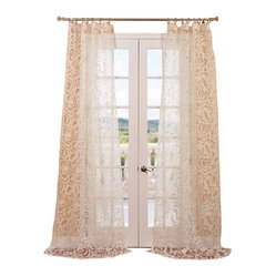 Exclusive Fabrics & Furnishings, LLC - Margo Ivory Patterned Sheer Curtain - Let the sunshine in with this magnificent sheer curtain. Enjoy the dazzling diffusion of light through the sensational swirling pattern.