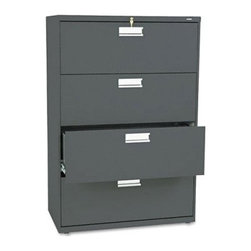 HON 600 Series 36 Inch Four Drawer Lateral File - Keep files neat, organized, and secure with the HON 600 Series 36-Inch Four-Drawer Lateral File. This tall, wide file cabinet has four generously sized drawers that hold letter or legal folders. A lock at the top of the cabinet keeps your important files safe, and the lock controls all openings. A mechanical interlock feature allows only one drawer to open at a time, which prevents the file cabinet from tipping.Designed for intense daily use, this file cabinet has a three-part telescoping slide suspension, and leveling glides are adjustable for uneven floors. It is available in your choice of putty, black, light gray, or light charcoal finish. Delivered fully assembled. Dimensions: 36W x 19.25D x 53.25H inches.About the HON CompanyHeadquartered in Muscatine, Iowa, the HON Company is established as a leader in the office furniture industry. The HON Company designs and manufactures products including chairs, files, panel systems, tables, and desks. With several national manufacturing facilities, the company provides products through a system of dealers and retailers throughout the United States.As the landscape of today's office and classroom continues to change with new technologies, the HON Company has created office furniture, teacher stations, and student desks that anticipate and adapt to the newest waves of high-tech products. Additionally, in an effort to think and act green, the HON Company uses less packing material, reduces their amount of fabric waste, and uses recycled wood from other furniture.