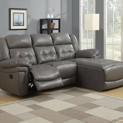 Monarch - Dark Grey Bonded Leather/Match Reclining Sofa Lounger - Join style and comfort together. This sofa chaise is the perfect seating solution for large living room areas. Plush full foam seating, a sturdy solid wood frame and motion reclining, this sofa chaise has plenty of space as well as comfortable armrests. Buttonless tufting backs with curved seat fronts provide a timeless touch of elegance. Wrapped in a top grain bonded leather match in a beautiful rich grey. Pair this stylish sectional with a modern coffee table.