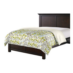 Aqua & Gray Watercolor Floral Custom Duvet Cover - Simplicity can be stunning.  So proves our Simple Duvet Cover with effortless clean lines that work in any style bedroom. We love it in this gray, aqua & spring green watercolor floral. your room will be awash with color & class.