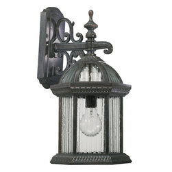 Quorum Lighting - Quorum Lighting Stelton Traditional Outdoor Wall Sconce X-54-3187 - This Quorum Lighting Stelton Traditional Outdoor Wall Sconce will make your home look more beautiful than ever. Notice the frame's prominent scroll work and beautiful, Baltic granite finish and panels of clear glass. It's a gorgeous light fixture with unparalleled style, and one that's sure to look wonderful in any outdoor space.
