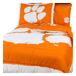 College Covers - NCAA Clemson Tigers King Bed Set Orange Cotton Bedding - Features: