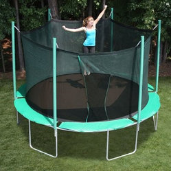 SportsTramp Extreme 13.5 ft. Round Trampoline with Detachable Cage - It's time to jump into fun with the SportsTramp Extreme 13.5 ft. Round Trampoline with Detachable Cage. With its durable 14-gauge galvanized steel frame and 96 8.5-inch tapered springs this trampoline offers lasting longevity and terrific gymnastic-quality bounce. In addition to terrific performance and construction this trampoline offers safety and comfort. No matter the heat you'll never hurt your feet on this trampoline. The included enclosure adds superior safety. It's designed to attach to the springs of the mat unlike traditional enclosures which attach around the outside of the trampoline. This design eliminates gaps between the cage and the mat resulting results in a safer trampoline enclosure. About Kidwise ProductsThis item is made by Kidwise Outdoors a company whose focus is safe fun excitement for kids. Kidwise strives to promote safe play for kids of all ages through outside activities. Their line of products includes swingsets trampolines inflatable bouncers bikes sport goals and many other items to choose from. Kidwise guarantees all of their products against defects. Like Hayneedle their goal is 100% satisfaction from customers. Their product lines focus on kid-friendly items that are fun to play with and stimulate balance and a healthy lifestyle for kids.