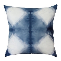 The Tangled Path - Indigo and White Diamond Shibori Cushion - A luxurious 100% cotton twill has been hand dyed indigo blue with a white diamond pattern. Perfect for your beach home or lake house, or just for a beach bum at heart!