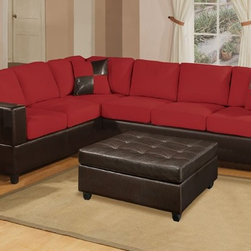 Contemporary 2 Pieces Red Microfiber Sectional Sofa Set Couch - Set Includes Contemporary Microfiber 2 Pieces Sectional Sofa