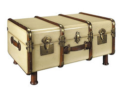 Authentic Models - Stateroom Trunk in Ivory - Professional Brass hardware, Brass locks and keys, steamed Cherry Wood bent slats. Complete with hand turned legs to serve a further life as a coffee table. Honey finished Wood inside. Made of Wood, Brass Hardware. Leather Handles. Ivory and Brown Finish. Assembly Instructions. 32.3 in. W x 18.1 in. D x 22.8 in. HWhen the Gare Central was manned by porters carrying multiple travel trunks to the Pullman Coupé or your private carriage on the Orient Express. When travel was for restless souls with matching bank accounts and a yen for romance. When a Rolls coupe was delivered with a picnic trunk strapped to a tail-rack. And when this trunk held a complete setting for twelve, including champagne flutes and dispensers for foie gras and Petrossian.