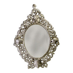 AA Importing - Oval Mirror w Frame in Antique Pewter Finish - Oval in shape. Pictured in Pewter Finish. 11.5 in. Dia. x 16 in. H