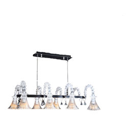 Royal Crystal Lighting - Royal Crystal Lighting Murano Glass Chandelier 8 Lights - Morden, Unique design of glass lighting, retangular over dinning table. Sophisticated look is also perfect for den or home office.