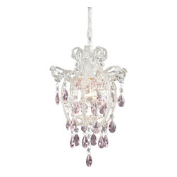Elk Lighting - Elk Lighting Elise Unique Pendant Light Fixture in Antique White - Shown in picture: These Petite Chandeliers Offer A Waterfall Of Crystal Accents To Add A Touch Of Class To Intimate Spaces.