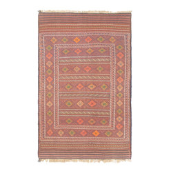 "Torabi Rugs - Flat-weave Shiravan Sumak Pink Wool Sumak 4'9"" x 7'5"" - These Caucasus style rugs and sumaks are primarily handwoven by nomadic tribal weavers in Afghanistan. They have a very bold geometric design and multiple borders, which borrow largely from Turkoman and Tajik tribal influences."
