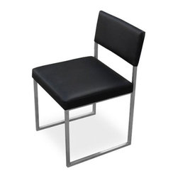 Dining Gus Modern Graph Chair Set of 2 - Graph Chair by Gus Modern. This beautiful chair features an architectural inspired metal frame with an upholstered seat and back. Available in Coal or Snow Vinyl. Stainless steel frame.