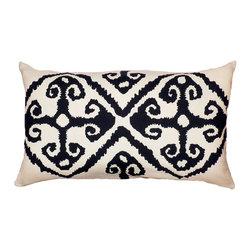 1414 Home - Modern Ethnic Global Ikat Cotton Throw Toss Accent Pillow, Black, 14x24 - Global Ethnic Pattern.  100% cotton.  Hidden zipper closure.  Down insert.  Wash cold water.
