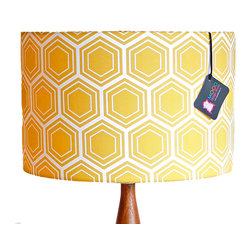 "Mood Design Studio - Modern Honeycomb Drum Lamp Shade, 18"" - Mood Design Studio creates cutting-edge lighting and home accessories. This shade is from our ""Indie Line"". Our Indie line utilizes limited run fabrics from a select group of indie textile designers making these shades pure originals."