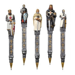 "EttansPalace - 6.5"" Medieval Knight Statue Sculpture Decorative Pen Gift Set - Set of 5 - They say the pen is mightier than the sword, so just imagine what kind of power You'll wield when you sign your decrees (or bills) with our sword-carrying knight pen! This quality designer resin pen is hand-painted in full color for added impact; keep it organized with our ""Knights Templar Helmet"" pen holder."