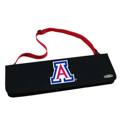 """Picnic Time - University of Arizona Metro BBQ Tote in Red - The Metro BBQ Tote stands out among other portable barbecue tool sets. It's a 3-piece BBQ tool set with silicone handles in an attractive black polyester zip-up case with an adjustable shoulder strap to match the handles of the tools inside. It includes three stainless steel tools: 1 large spatula featuring a built-in bottle opener, grill scraper, and serrated edge for cutting (17.5"""") , 1 BBQ fork (17""""), and 1 pair of tongs (16.5""""). All three tools have long handles to keep your hands away from the flames and metal loops at their ends to hang them on your barbecue. Why not add a little color to your day with the Metro BBQ Tote?; College Name: University of Arizona; Mascot: Wildcats; Decoration: Digital Print; Includes: Includes three stainless steel tools: 1 large spatula featuring a built-in bottle opener, grill scraper, and serrated edge for cutting (17.5"""") , 1 BBQ fork (17""""), and 1 pair of tongs (16.5""""). All three tools have long handles to keep your hands away from the flames and metal loops at their ends to hang them on your barbecue."""
