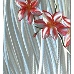 Pure Art - Flowers of the Rainforest Hand-Painted Aluminum Wall Art - Revisit the beauty of your favorite tropical locale and its lush blooms without leaving the comfort of your armchair!   The Flowers of the Rainforest Hand Painted Aluminum Wall Art depicts lavish floral blossoms in brilliant pinks and reds that are set upon a backdrop of brilliant glistening silver.  This highly vertical panel is destined to become one of the most vivid focal points in your entire space, and is bound to garner its fair share of oohs-and-aahs from passersby.Made with top grade aluminum material and handcrafted with the use of special colors, it is a very appealing piece that sticks out with its genuine glow. Easy to hang and clean.