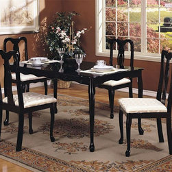 ACME Furniture - Queen Anne 5 Piece Dining Set - 6006-5set - Includes Table and 4 Side Chairs