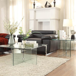 Homelegance - Homelegance Alouette 2 Piece Square Glass Coffee Table Set - Like a window into your design world  the Alouette Collection provides a classic  yet modern platform for your living room experience. The cocktail and end table feature square tabletops with glass supports that are connected by metal hardware.