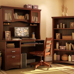 South Shore - Desk & Hutch Set w 4 Shelf Bookcase in Cherry - Manufactured from eco-friendly, EPP-compliant laminated particle boardcarrying the Forest Stewardship Council (FSC) certification. Swivel computer chair and computer set not included . Includes small desk, hutch and 4 shelf bookcase. Paneling effect on hutch and bookcase . Glass framed doors 3 shelves in hutch . Drawers feature metal slide track for smooth gliding. Assembly Required. Small desk: 24 in. W x 48 in. D x 31 in. H . Hutch: 13 in. W x 49 in. D x 36 in. H . Shelf bookcase: 13 in. W x 32 in. D x 58 in. H Make your home office wishes come true with the Gascony office furniture collection that marries practical storage solutions with a sumptuous cherry finish to bring a comfortable yet distinctive allure to your home office. Beauty goes more than skin deep with smooth-gliding drawers mounted on metal slide tracks for easy drawer operation. Infuse quaint warmth into your work area with the country-style paneling effect that gets an update with elegant metal handles. Show off your favorite books, photos and collectibles in the ample display space and stay organized with the roomy storage areas that accommodates files, writing implements and other necessities. Add the warmth and beauty of this collection to your home office and it will soon become your favorite room in the house.
