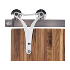 Rustica Hardware - Triangle Barn Door Hardware - 6 Feet Brushed Steel Finish - Slyder Wheel w/ Blac - Defined by sleek lines, this Triangle Roller Hanger is characterized by its minimalistic shape. A symbol of architectural strength, this Triangle Roller hanger defines modern style. Perfect for use with our Modern Tube Track, Wire Rail Track and Flat Track hardware. This hanger mounts to the face of the door.  Weight Limit: 500lbs Per Hanger Pair