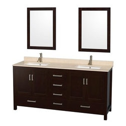 "Wyndham Collection(R) - Sheffield 72"" Double Bathroom Vanity by Wyndham Collection - Espresso - Distinctive styling and elegant lines come together to form a complete range of modern classics in the Sheffield Bathroom Vanity collection. Inspired by well established American standards and crafted without compromise, these vanities are designed to complement any decor, from traditional to minimalist modern.Available in multiple sizes and finishes.The Wyndham Collection is an entirely unique and innovative bath line. Sure to inspire imitators, the original Wyndham Collection sets new standards for design and construction.FeaturesConstructed of environmentally friendly, zero emissions solid wood, engineered to prevent warping and last a lifetime12-stage wood preparation, sanding, painting and finishing processHighly water-resistant low V.O.C. sealed finishBeautiful transitional styling that compliments any bathroomPractical Floor-Standing DesignMinimal assembly requiredDeep Doweled DrawersFully-extending under-mount soft-close drawer slidesConcealed soft-close door hingesCounter options include Ivory Marble and White Carrera Marble Counter includes 3"" backsplashAvailable with Porcelain undermount sink(s)Oval sink(s) available with pre-drilled 8"" Widespread 3-Hole faucet mountsSquare sink(s) available with pre-drilled Single-Hole faucet mounts. Additional holes may be drilled by customer on site.Faucet(s) not includedMetal exterior hardware with brushed chrome finishFour (4) functional doorsFive (5) functional drawersPlenty of storage spaceVariations in the shading and grain of our natural stone products enhance the individuality of your vanity and ensure that it will be truly uniquePlenty of counter spaceHow to handle your counterSpec SheetSpec Sheet for 24"" MirrorSpec Sheet for 70"" MirrorSpec Sheet for Medicine CabinetSpec Sheet for Linen TowerInstallation GuideInstallation Guide for Medicine CabinetView Spec Sheet for Fiona Side Cabinet (WC-B800)View Spec Sheet for Rotating Wall Cabinet with mirror (WC-B802) View Spec Sheet for Wall Cabinet (WC-B803) View Spec Sheet for Wall Cabinet (WC-B805) View Spec Sheet for Wall Cabinet (WC-B807)Natural stone like marble and granite, while otherwise durable, are vulnerable to staining from hair dye, ink, tea, coffee, oily materials such as hand cream or milk, and can be etched by acidic substances such as alcohol and soft drinks. Please protect your countertop and/or sink by avoiding contact with these substances. For more information, please review our ""Marble & Granite Care"" guide."