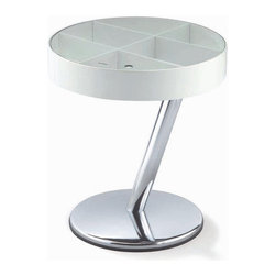 New Spec - White Contemporary End Table w Metal Frame - Color/Finish: White/Silver. Material: Bendwood/Metal. Swivel . . 14.56 in. L x 21.06 in. H (25 lbs)