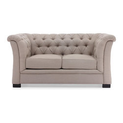 Zuo Modern - Zuo Modern Nob Hill Era Loveseat X-69089 - A unique take of the classic Chesterfield style, the Nob Hill series evokes the grand gentlemen's club tradition. The body is solid wood and the fabric is a soft beige or charcoal linen fabric.