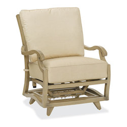 Thos. Baker - Catalina Outdoor Motion Club Chair - The catalina collection features subtly weathered heavy-gauge aluminum frames, elegantly set-off with romantic accents and a classic crossback style. Plush cushion sets are covered in premium Sunbrella outdoor fabrics made-to-order in your choice of signiture solid and textured colors or premium woven and striped patterns.Signature or premium cushion sales are final and ship in 2-3 weeks.