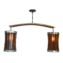 Wine Country Craftsman - CRAFTSMAN - Double Pannier - Wine Barrel Chandelier - CRAFTSMAN - Double Pannier - Wine Barrel Chandelier - 100% RECYCLED