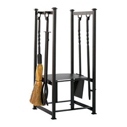 Olde World Iron Fireplace Tool Set and Log Rack - Black - Tidy up and save space with the all-in-one Olde World Iron Fireplace Tool Set and Log Rack. This hearth accessory features a large rack for firewood, a lower section for newspapers and side tool holders.