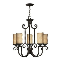 Hinkley Lighting - Hinkley Casa Olde Black Five-Light 25 Wide Chandelier - Casa makes the most of its fine details- individually unique antique scavo glass twisted wrought iron and hand-forged scrollwork in an Olde Black finish complete its rustic-chic appeal with a Southwestern flair.Under four generations of family leadership Hinkley Lighting has transformed from a small outdoor lantern company to a global brand intent on bringing you the best in style quality and value. LIFE AGLOW: That's their mantra and they take it seriously. By welcoming their products into your home they become part of your family's everyday life illuminating small moments and big occasions. They understand your home is so much more than a physical place. It's an emotional space designed by you so they are committed to keeping your 'Life Aglow' with stylish state-of-the-art lighting. Their products are the ultimate combination of style and substance. They are constantly developing new technologies to make their fixtures even more energy efficient. Hinkley recently upgraded their LED to cutting-edge high lumen output integrated solutions and they give you hundreds of energy-efficient styles to choose from. Even their Cleveland-based world headquarters employs high energy saving standards with low VOC materials and a variety of eco-smart applications into the design to make an earth-friendly work environment for their Hinkley family. Hand crafted fixtures luxe finishes artistic details and quality materials go into the design of every product they make. They embrace the philosophy that you can merge together the lighting furniture art and accessories you love into a beautiful environment that defines your own personal style.
