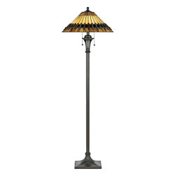 Quoizel - Quoizel TF489F Chastain Transitional Tiffany Floor Lamp - The lamp pays homage to the enduring Arts and Crafts style, which is typified by straight lines forming squares and rectangles.  The handcrafted shade honors the tradition of quality and attention to detail, and the coordinating base has an authentic bronze patina.