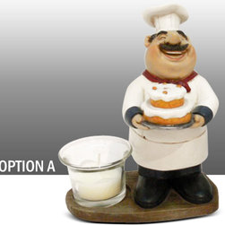 Fat Chef Kitchen Statue Figure Votive Candle Holder Table Art Decor Option A - Beautiful Fat Chef Votive Candle Holder Table Figure Kitchen Decor.
