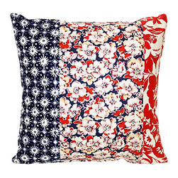 Acapillow - Floral Patchwork Pillow - Cuddle up in style with this fetching, feathery pillow. A motley mix of floral fabrics wrapped around a super soft down insert, this red and blue beauty is part vintage, part contemporary and all cozy — ready to be companion to your favorite chair.
