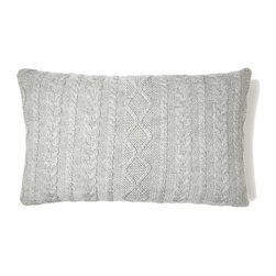 """Johanna Howard Home & Accessories - Howard Cable Rectangle Pillow, Heather Grey, 12""""x20"""" - Howard Cable Rectangle Pillow features JHH&A'a signature cable stitch design.Made by a small family owned business in Peru, it is knitted in incredible soft and lustrous 100% baby alpaca. Currenlty there are four color options available in this style.  It is designed to work back to the Howard Cable Throw or any of the other throws in the collection for a mix and match effect and comes with a 90/10 feather down insert. It has  back buttons for extra details. 12""""x20"""", 100% baby alpaca. Dry cleaning recommended. Made in Peru. Fair Trade."""